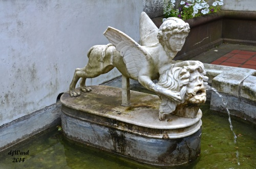 A Fountain sonds peaceful, relaxing as you sit on the porch of the Mansion